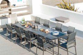 Lange Garten-Tischgruppe für 10 Personen, Metall