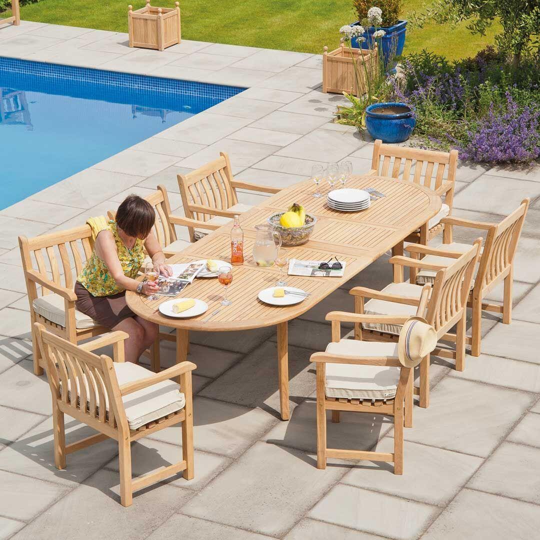 Garten-Rundtisch mit Stühlen Holz/Bezug naturweiß