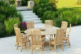 Garten-Rundtisch mit Stühlen Holz