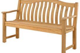 Gartenbank aus Holz mit Armlehnen