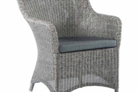 Gartenstuhl geflechtet mit Sitzauflage graublau