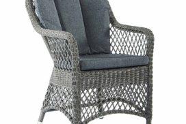 Gartenstuhl geflechtet, Sitz- und Rückenkissen graublau
