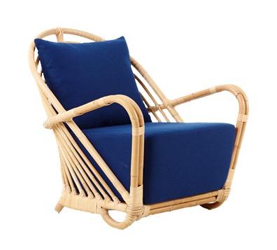 Gartenstuhl mit Armlehnen, Bezug blau