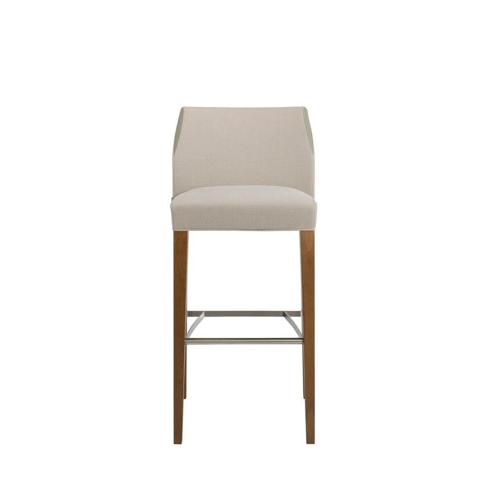 Barstuhl mit Rückenehne, gepolstert/Holz/Stahl