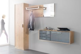 Garderobe Holz/grau