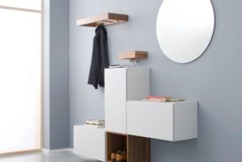 Garderobe weiß/Holz