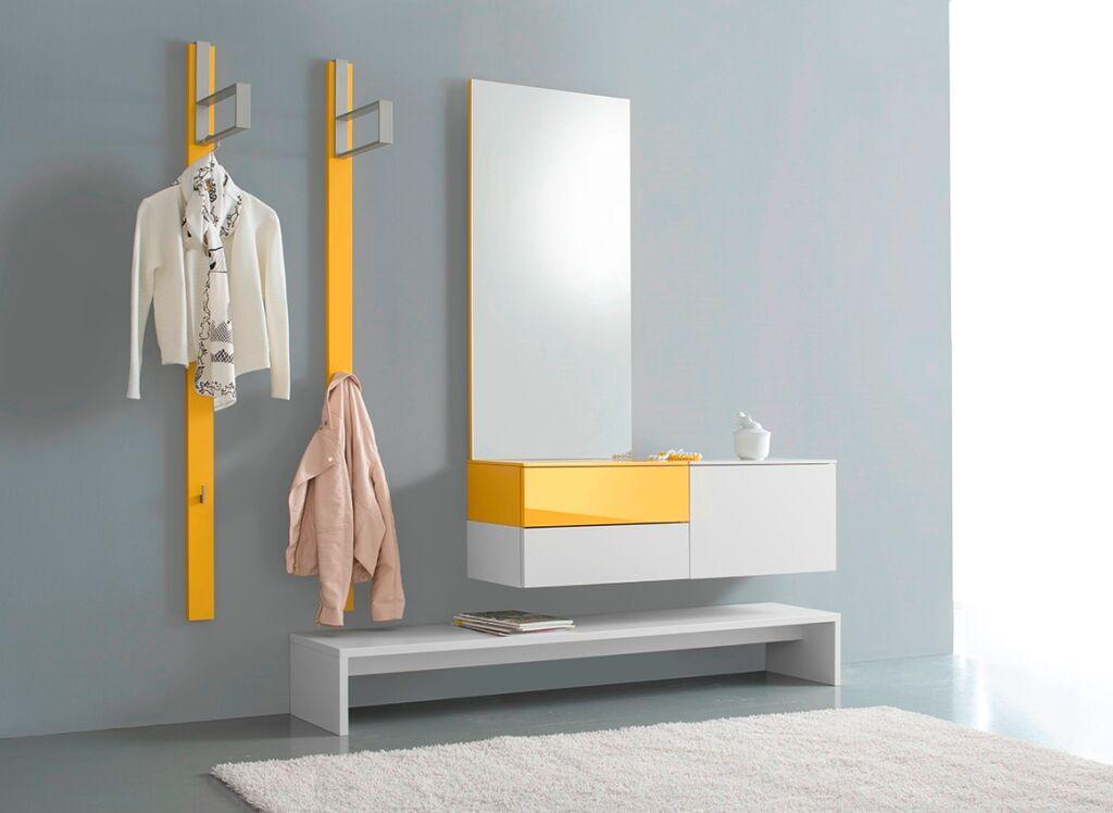 Garderobe weiß/gelb