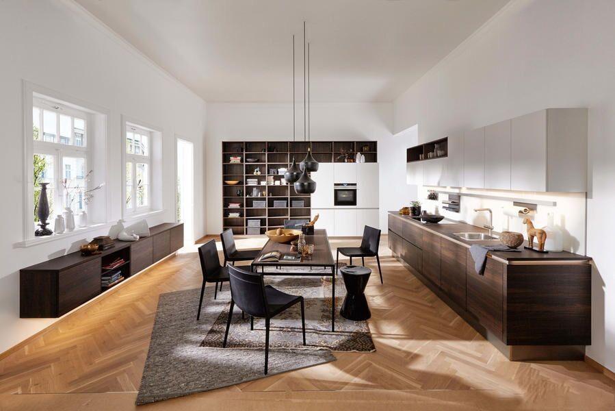 Küche Nussbaum /weiss Softmatt