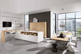 Küche Wildeiche rustikal / weiss Hochglanz