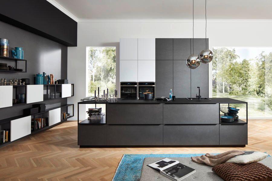 Küche blaustahl Softlack / Arcticweiss Softmatt