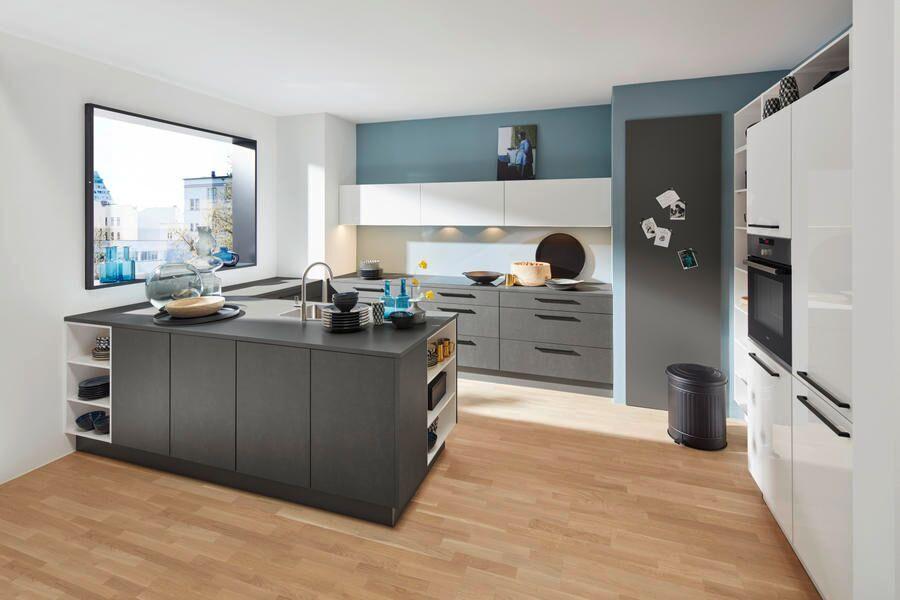 Küche stahlgrau / weiss